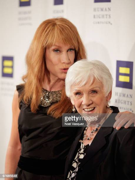 Kathy Griffin and her mother Maggie Griffin attend the Human Rights Campaign Los Angeles Dinner and Awards at the Hyatt Regency Century Plaza on...