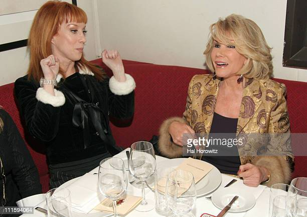 Kathy Griffin and Joan Rivers during Joan Rivers and Kathy Griffin Dine at David Burke Donatella in New York City at David Burke Donatella in New...