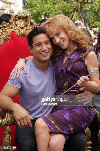 Kathy Griffin and Mario Lopez visit Extra at The Grove on April 25 2011 in Los Angeles California