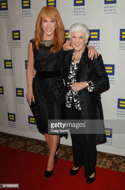Kathy Griffin and mother Maggie Griffin arrive at the HRC Los Angeles Dinner And Awards Gala at Hyatt Regency Century Plaza on March 13 2010 in...
