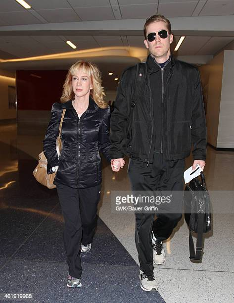 Kathy Griffin and Randy Bick seen at LAX on January 21 2015 in Los Angeles California