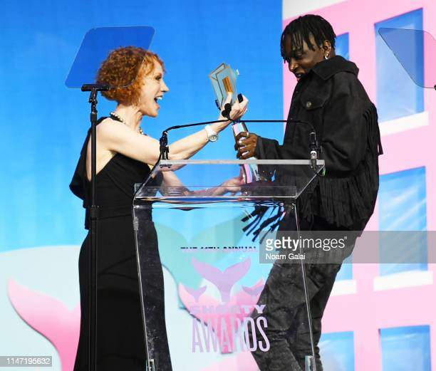 Kathy Griffin and Rickey Thompson speak onstage during the 11th Annual Shorty Awards on May 05 2019 at PlayStation Theater in New York City