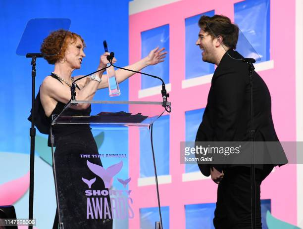 Kathy Griffin and Shane Dawson speak onstage during the 11th Annual Shorty Awards on May 05 2019 at PlayStation Theater in New York City