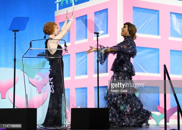Kathy Griffin and Shangela speak onstage during the 11th Annual Shorty Awards on May 05 2019 at PlayStation Theater in New York City