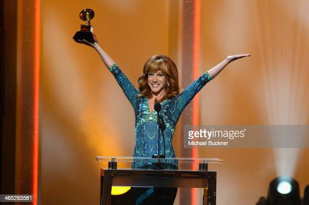 Kathy Griffin onstage during the 56th GRAMMY Awards PreTelecast at Nokia Theatre LA Live on January 26 2014 in Los Angeles California