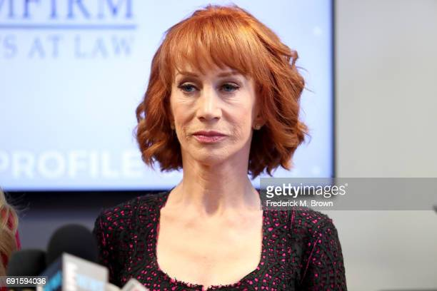 Kathy Griffin speaks during a press conference at The Bloom Firm on June 2 2017 in Woodland Hills California Griffin is holding the press conference...