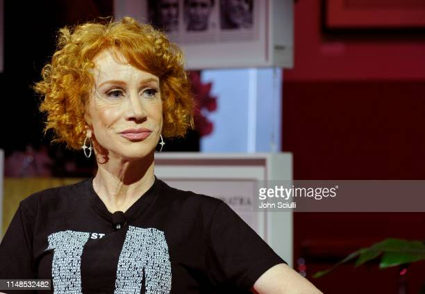 Kathy Griffin speaks on the panel with Roxane Gay at the Playboy Playhouse on May 11 2019 in Los Angeles California
