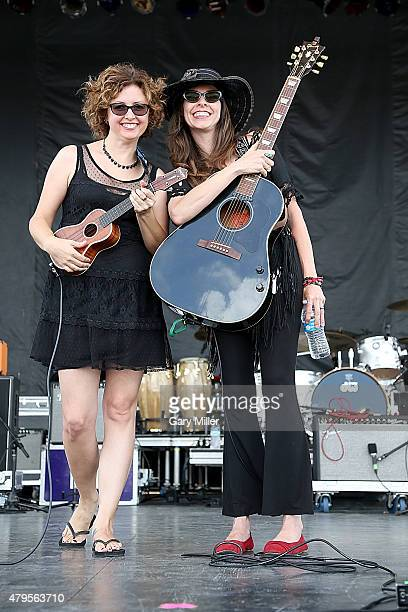 Kathy Guthrie daughter of Arlo Guthrie and Amy Nelson daughter of Willie Nelson perform in concert as Folk Uke during Willie Nelson's 42nd Annual 4th...