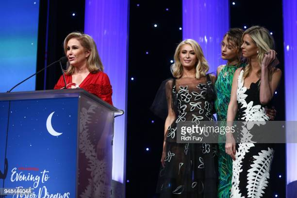 Kathy Hilton accepts the Robert Morrison Community Service award during the CASA Of Los Angeles' 2018 Evening To Foster Dreams Galaat The Beverly...