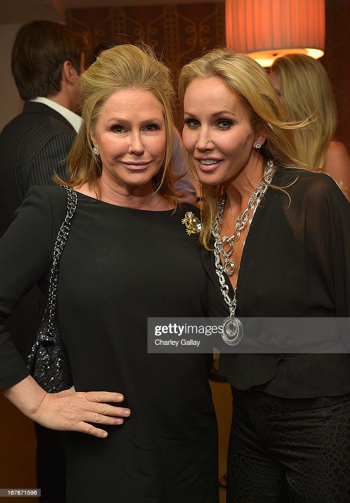 Kathy Hilton (L) and Brooke Davenport attend the David Webb Dinner in honor of LAXART at Sunset Tower on May 1, 2013 in West Hollywood, California.