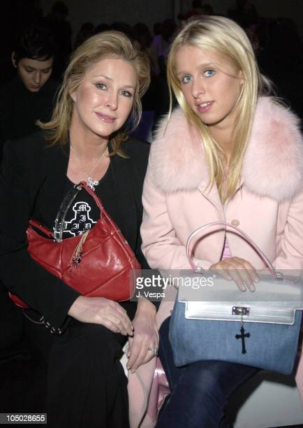 Kathy Hilton and Nicky Hilton during MercedesBenz Fashion Week Fall 2003 Collections Lloyd Klein Front Row at Bryant Park in New York City New York...