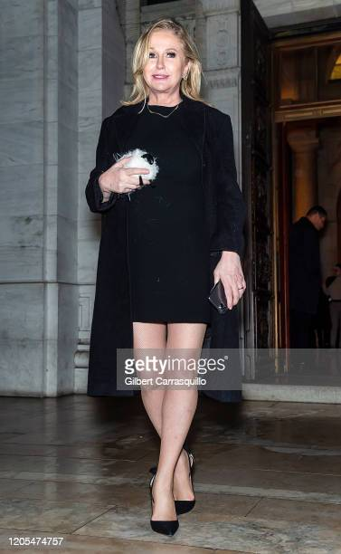 Kathy Hilton is seen leaving the Oscar De La Renta Fashion Show during New York Fashion Week at The New York Public Library on February 10, 2020 in...