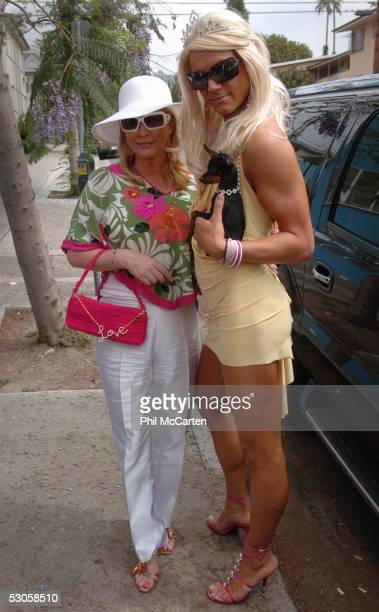 Kathy Hilton poses with Princess Paris at the 2005 West Hollywood Gay Pride Parade June 12 2005 in Los Angeles California