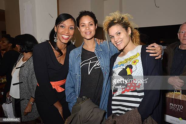 Kathy Jean Loui, Tiga from France O TV and her sister Cathie Ducasse attend The 'Pari D'Amies' : Rokhaya Diallo and Kim Consigny Book Launch Cocktail...
