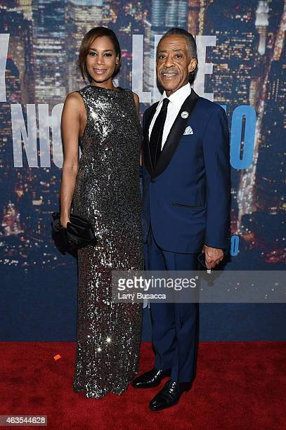 Kathy Jordan and Al Sharpton attend SNL 40th Anniversary Celebration at Rockefeller Plaza on February 15 2015 in New York City