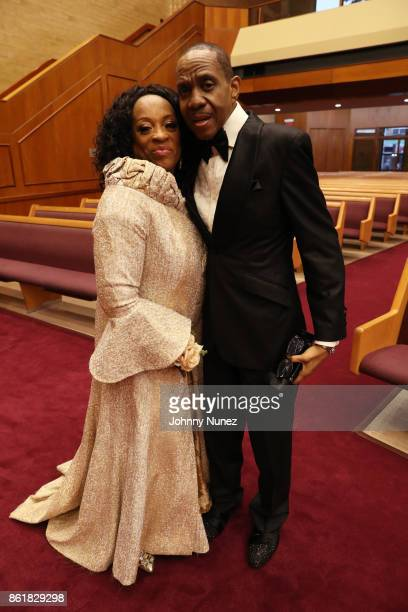 Kathy Jordan Sharpton and Freddie Jackson attend Dominique Sharpton And Dr Marcus Bright's wedding ceremony on October 15 2017 in New York City