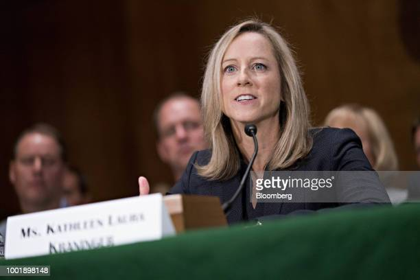 Kathy Kraninger director of the Consumer Financial Protection Bureau nominee for US President Donald Trump speaks during a Senate Banking Committee...