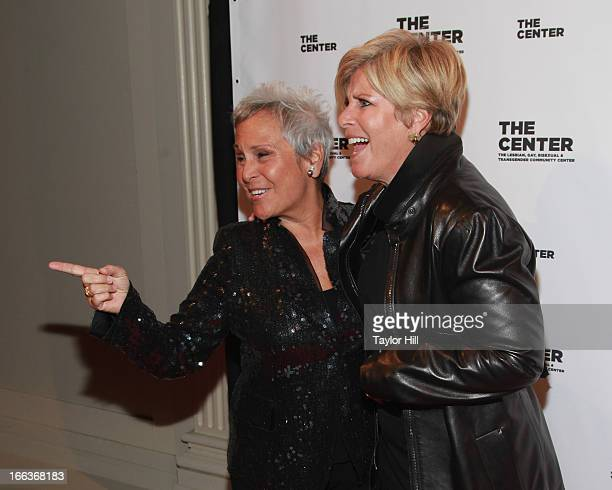 Kathy KT Travis and wife Suze Orman attend the Center Dinner Annual Gala Honoring Edie Winsor at Cipriani Wall Street on April 11 2013 in New York...