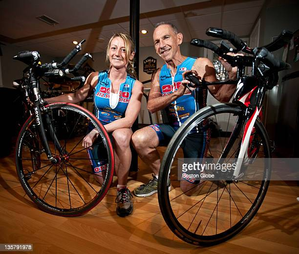 Kathy Laska and her father David Wilson of Brockton, pose for a portrait with their bikes at Laska's home in Millis, Mass.. The duo will compete in...
