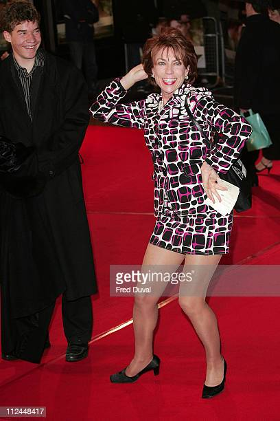 """Kathy Lette and her son during """"Becoming Jane"""" London Premiere - Arrivals at Odeon West End in London, Great Britain."""