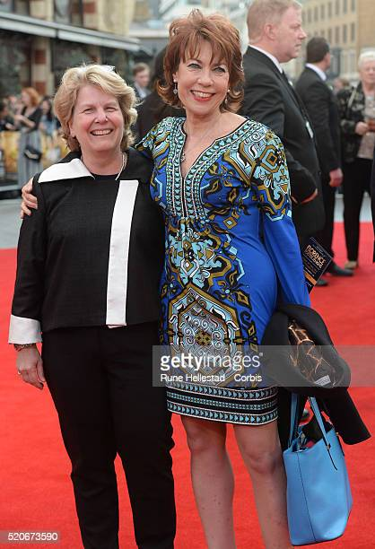 Kathy Lette and Sandi Toksvig attend the premiere of Florence Foster Jenkins at Odeon Leicester Square on April 12 2016 in London England