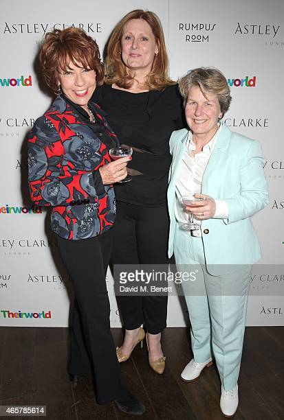 Kathy Lette Sarah Brown and Sandi Toksvig attend the Astley Clarke and Theirworld charitable partnership launch in the Rumpus Room at Mondrian London...