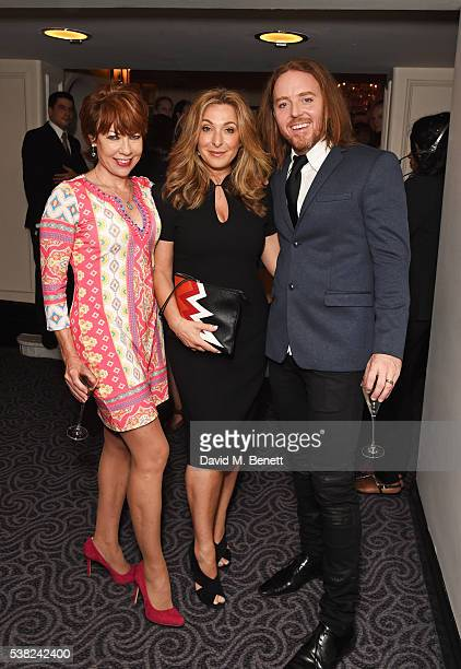 Kathy Lette, Tracy-Ann Oberman and Tim Minchin attend the The South Bank Sky Arts Awards, airing on Wednesday 8th June on Sky Arts, at The Savoy...