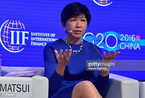 Kathy Matsui Chief of Japan Equity Strategy and CoHead Macro Research in Asia of Goldman Sachs Japan Co Ltd during the 2016 IIF G20 Conference on...