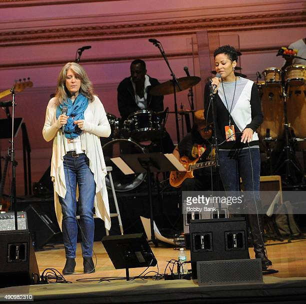Kathy Mattea and Kori Withers attend the soundcheck for Lean On Him A Tribute To Bill Withers at Carnegie Hall on October 1 2015 in New York City