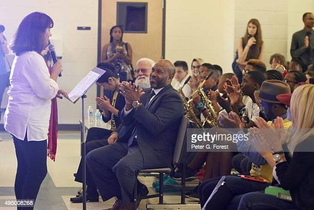 Kathy Mota of Toyota speaks during the VH1 Save the Music Foundation Toyota Celebration Event at LaPlace Elementary School on October 30 2015 in...