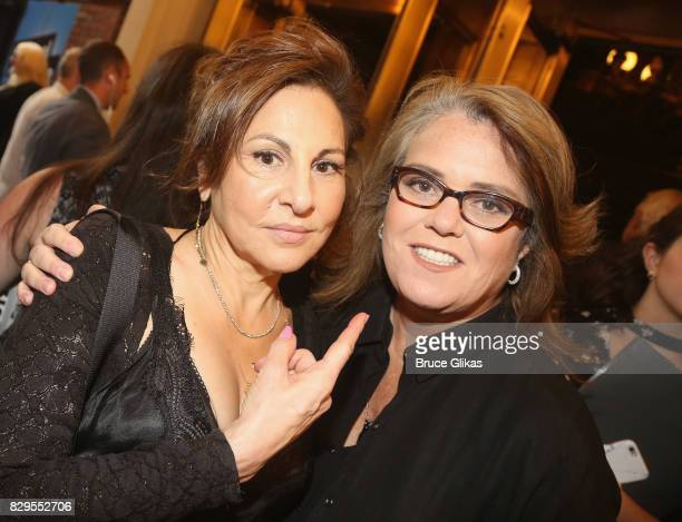 Kathy Najimy and Rosie O'Donnell pose at the opening night arrivals for Michael Moore's The Terms Of My Surrender on Broadway at The Belasco Theatre...