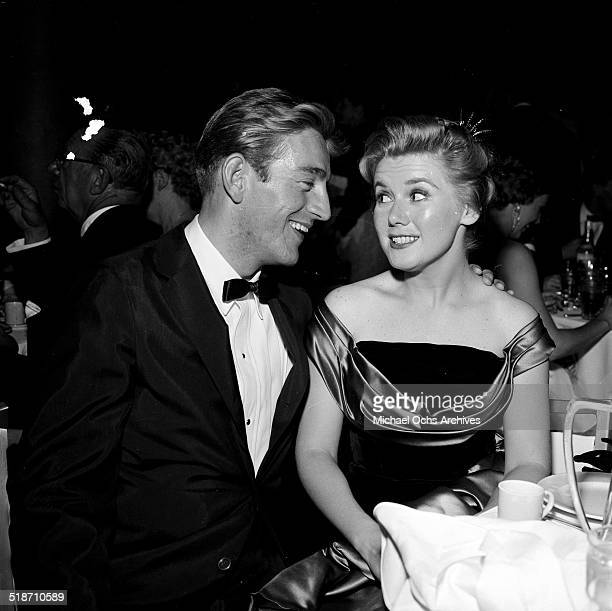 Kathy Nolan and Rod McKuen attend a party in Los AngelesCA
