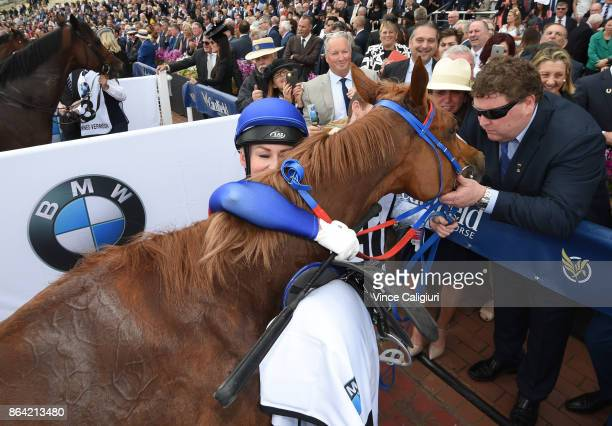 Kathy O'Hara hugs Single Gaze after finishing runner up in Race 8 Caulfield Cup during Melbourne Racing on Caulfield Cup Day at Caulfield Racecourse...