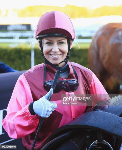 Kathy O'Hara on Noble Joey returns to scale after winning race 9 during Sydney Racing at Royal Randwick Racecourse on July 7 2018 in Sydney Australia