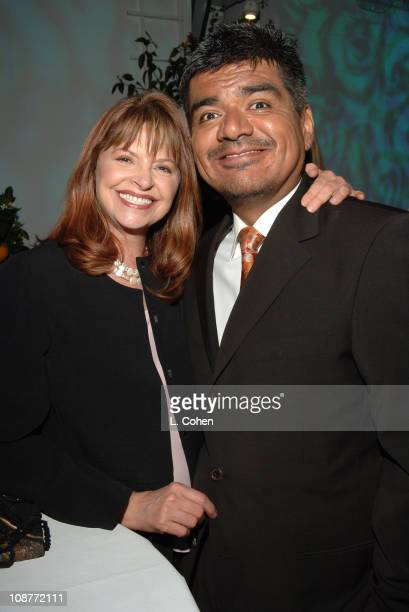 Kathy Prinze and George Lopez during AOL In2TV Launch Inside at Museum of Television in Los Angeles California United States
