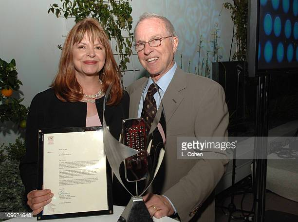 Kathy Prinze and Ron DeBlasio during AOL In2TV Launch Inside at Museum of Television in Los Angeles California United States