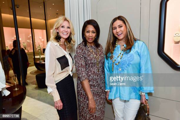 Kathy Prounis Dr Amelia QuistOgunlesi and Meera T Gandhi attend QUEST Magazine Baubles Bubbly at Nirav Modi Boutique on June 21 2017 in New York City
