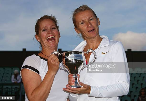 Kathy Rinaldi of United States and Jana Novotna of Czech Republic celebrate with the trophy after winning the ladies invitational doubles Final...