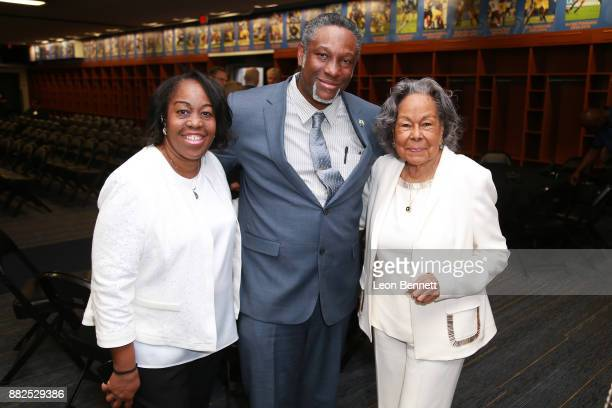 Kathy Robinson Young Edward Robinson and Rachel Robinson wife of Jackie Robinson attend as the Rose Bowl Legacy Foundation hosts the dedication of...