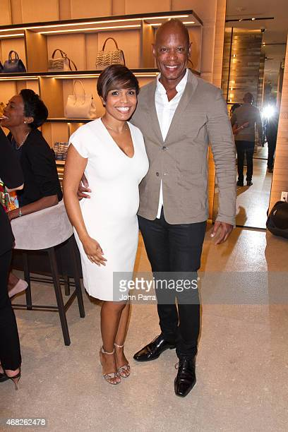 Kathy Rodriguez and Sheldon Mathis attend the Max Mara and National YoungArts celebration on March 31 2015 in Miami Florida