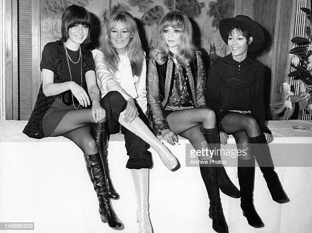 Kathy Simmonds Marilyn Rickard Judy Huxtable and Ester Anderson pose for picture during publicity tour for the film 'The Touchables' 1968