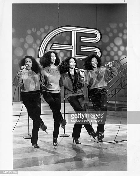 Kathy Sledge Joni Sledge Debbie Sledge and Kim Sledge of the vocal group Sister Sledge pose for a portrait in circa 1975