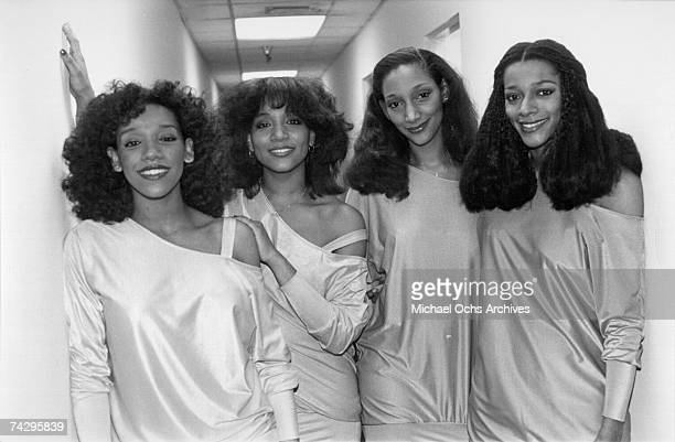 Kathy Sledge Joni Sledge Debbie Sledge and Kim Sledge of the vocal group Sister Sledge pose for a portrait in circa 1977