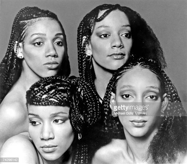 Kathy Sledge Joni Sledge Kim Sledge and Debbie Sledge of the vocal group Sister Sledge pose for a portrait in circa 1977