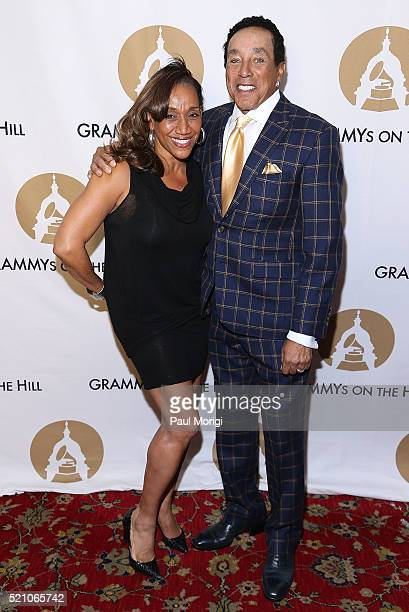 Kathy Sledge of Sister Sledge and Smokey Robinson arrive at the GRAMMYs on The Hill Dinner at The Hamilton on April 13 2016 in Washington DC