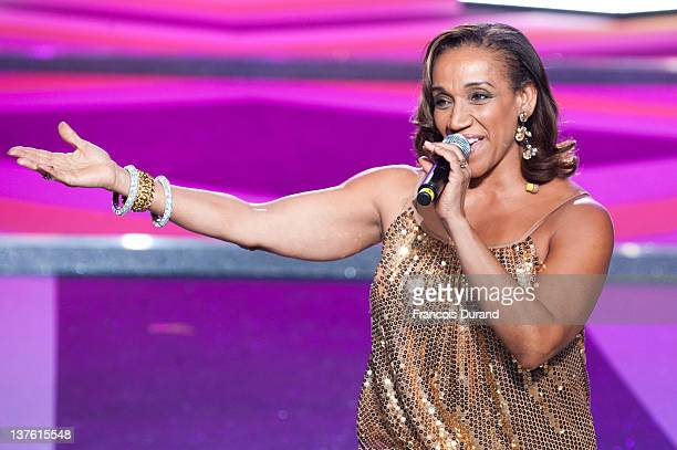 Kathy Sledge of Sister Sledge performs during the Etam Spring / Summer 2012 Collection Launch at Les BeauxArts de Paris on January 23 2012 in Paris...