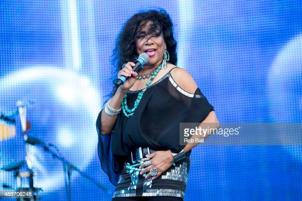 Kathy Sledge of Sister Sledge performs on stage at Rewind South 80s Music Festival at Temple Island Meadows on August 16 2014 in HenleyonThames...