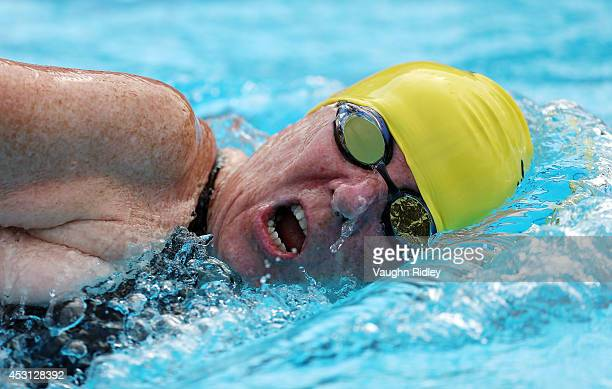 Kathy Slifer of the US competes in the Women's 800m Freestyle at Parc JeanDrapeau during the 15th FINA World Masters Championships on August 03 2014...