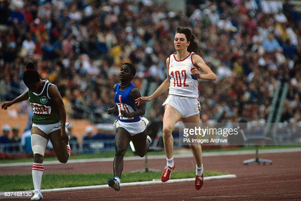 Kathy Smallwood of Great Britain no 102 in action during the Women's 100m heat in the Lenin Stadium in Moscow Along with Heather Hunte Beverly...