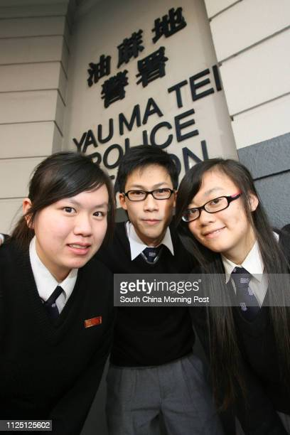 Kathy Sum Kitfong Icarus Leung Chunkit and Laoraine Yeung Lokyan who have won a competition to design Yau Ma Tei renewal scheme pictured outside the...